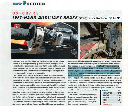 DirtRider Tested – OX-BRAKE